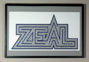 """""""ZEAL"""" - Ink and Pigment Marker on Cotton, 71x38 cm. 2014"""